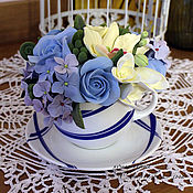 Цветы и флористика ручной работы. Ярмарка Мастеров - ручная работа Мини-букет в голубой чашке - 1. Handmade.
