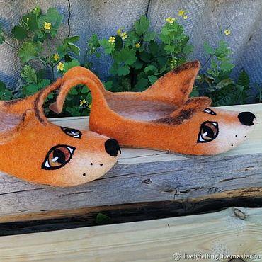 Footwear handmade. Livemaster - original item Felted Slippers-Liski. Handmade.
