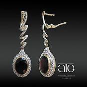 Украшения handmade. Livemaster - original item Gold earrings with garnets and CZ. 585.. Handmade.