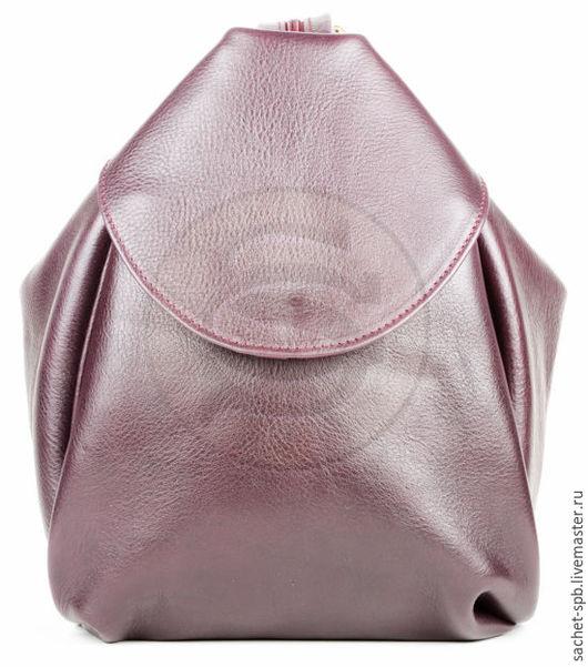 Рюкзаки ручной работы. Ярмарка Мастеров - ручная работа. Купить Кожаная сумка-рюкзак Микки баклажан. Handmade. Тёмно-фиолетовый