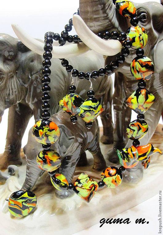"""Комплекты украшений ручной работы. Ярмарка Мастеров - ручная работа. Купить Комплект ручной работы в технике lampwork """"Страсти по-африкански"""". Handmade."""