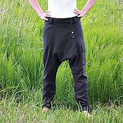 Одежда handmade. Livemaster - original item pants breeches unisex knit pockets khaki. Handmade.