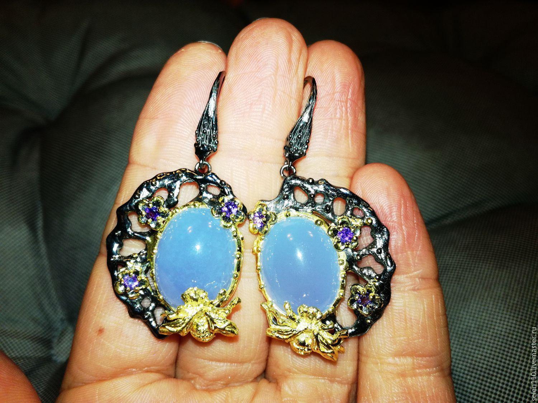 Earrings 'Golden bee' with chalcedonies, Earrings, Voronezh,  Фото №1