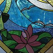 """Картины и панно ручной работы. Ярмарка Мастеров - ручная работа витражное  панно """"лотос"""". Handmade."""