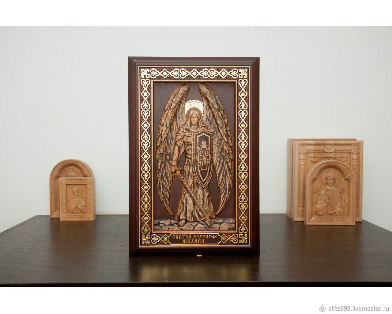 Icon carved by Archangel Michael (potal) size 400x600mm, price 11000r., in stock t. 89236905757, Whats App 89087961144 Produced in Russia, made with a soul!