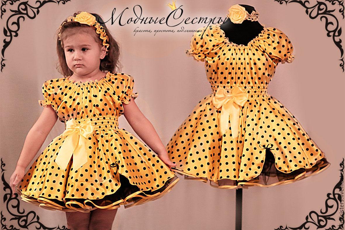 Платье в горошек для девочек своими руками