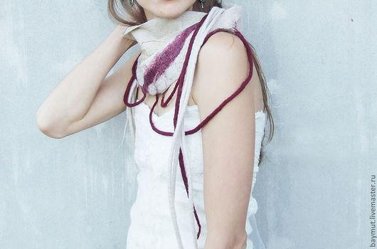 Шарфы и шарфики ручной работы. Ярмарка Мастеров - ручная работа. Купить Арт шарф с войлочными шнурами. Handmade. Бежевый, бордо