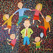 """Для дома и интерьера ручной работы. Ярмарка Мастеров - ручная работа Лоскутное юбилейное одеяло """"7 Я - моя семья"""". Handmade."""