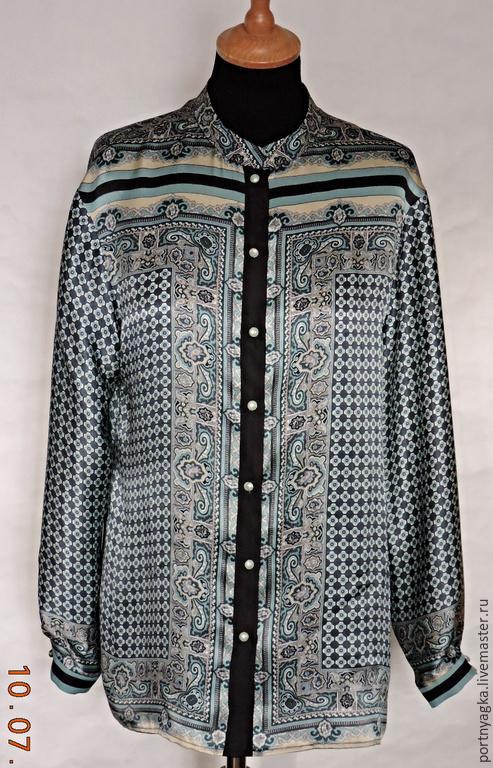 Блузки ручной работы. Ярмарка Мастеров - ручная работа. Купить Блузка Шелковый путь. Handmade. Зеленый, платочный рисунок, блузка