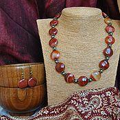 Колье ручной работы. Ярмарка Мастеров - ручная работа Колье и серёжки из рыжего агата. Handmade.