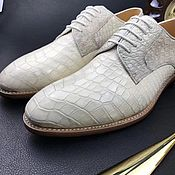 Обувь ручной работы handmade. Livemaster - original item Men`s classic crocodile leather shoes in white.. Handmade.