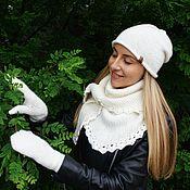 Аксессуары ручной работы. Ярмарка Мастеров - ручная работа Вязаный комплект: шапочка бини, бактус и рукавички. Handmade.