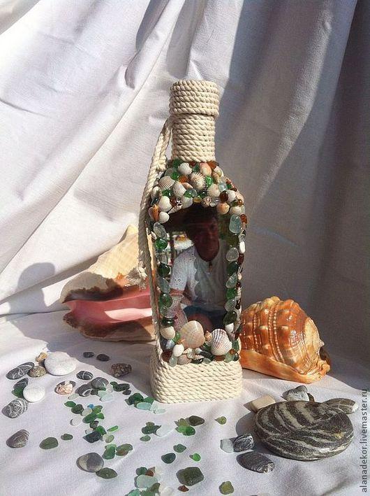 """Персональные подарки ручной работы. Ярмарка Мастеров - ручная работа. Купить Именная бутылка """"Море, солнце, пляж"""". Handmade. Море"""
