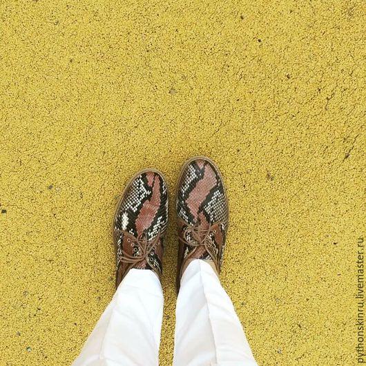 Обувь ручной работы. Ярмарка Мастеров - ручная работа. Купить Полуботинки из натурального питона. Handmade. Туфли, питон, натуральная кожа
