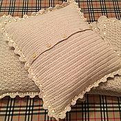 Для дома и интерьера handmade. Livemaster - original item Set of Blanket and Cushion knitted Milk river. Handmade.