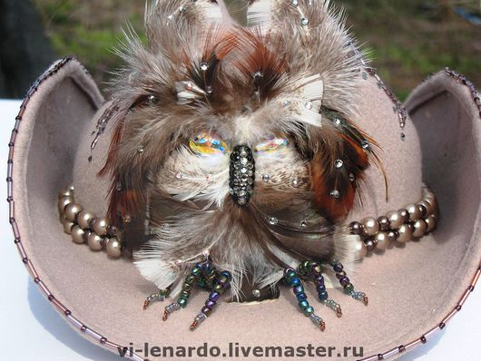 """Шляпы ручной работы. Ярмарка Мастеров - ручная работа. Купить Шляпа-ковбойка гламурная """"ФИЛИН"""". Handmade. Фетровая шляпа, бежевый"""
