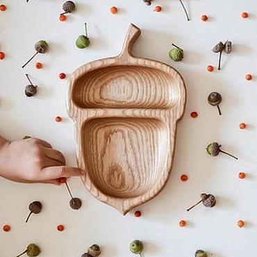 Посуда ручной работы. Ярмарка Мастеров - ручная работа Деревянная тарелка - желудь из ясеня или бука. Handmade.
