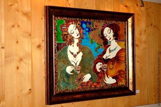 """Люди, ручной работы. Ярмарка Мастеров - ручная работа. Купить Картина на стекле """"Кофепитие"""". Handmade. Коричневый, девушки, картина, стекло"""