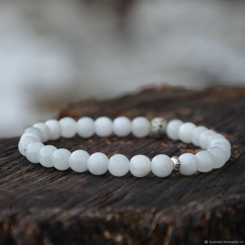 Men's bracelet, 8mm jade and 925 sterling silver, longevity and luck, Bead bracelet, Pereslavl-Zalesskij,  Фото №1