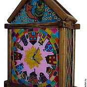 Для дома и интерьера handmade. Livemaster - original item Wall clock stained glass Magic house. Handmade.