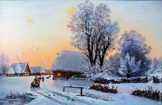 """Пейзаж ручной работы. Ярмарка Мастеров - ручная работа. Купить картина """"Зимний вечер"""". Handmade. Комбинированный, зимний вечер"""
