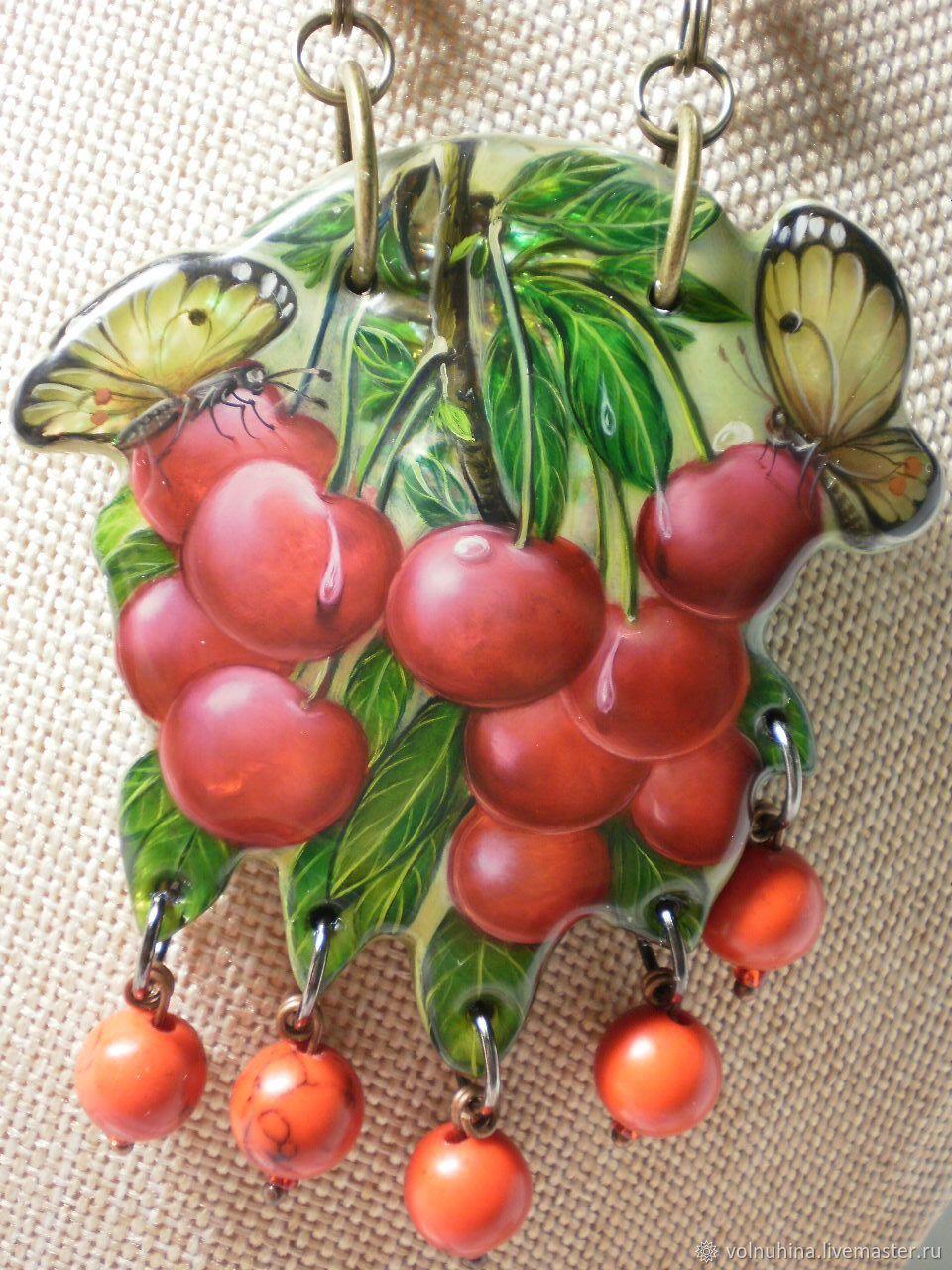 Butterfly necklace on cherry, Pendants, Dzerzhinsk,  Фото №1