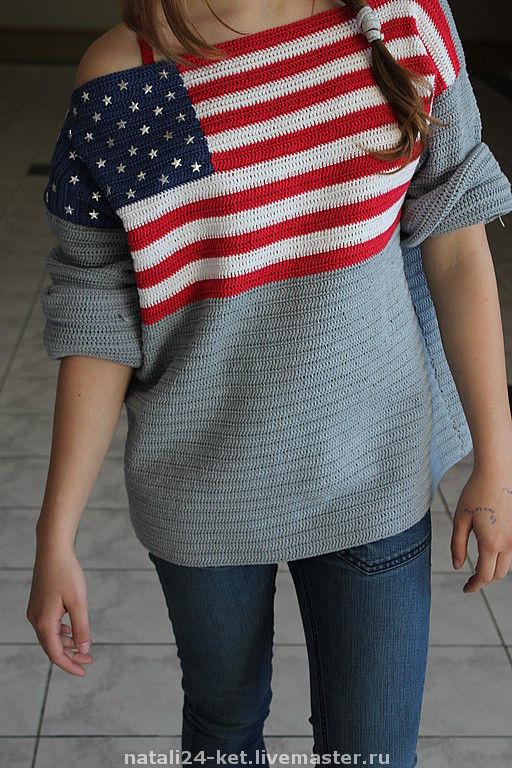 Кофты и свитера ручной работы. Ярмарка Мастеров - ручная работа. Купить ФЛАГ США. Handmade. Вязаный свитер, блузон