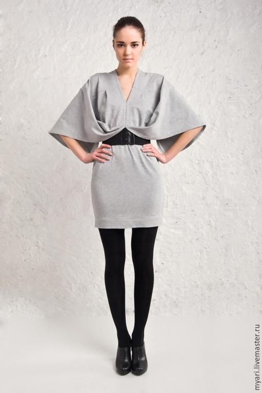 Платья ручной работы. Ярмарка Мастеров - ручная работа. Купить Эффект бабочки. Handmade. Серый, повседневное платье, дизайнерское платье