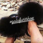Обувь ручной работы handmade. Livemaster - original item Flip flops with Finnish Fox fur. Handmade.