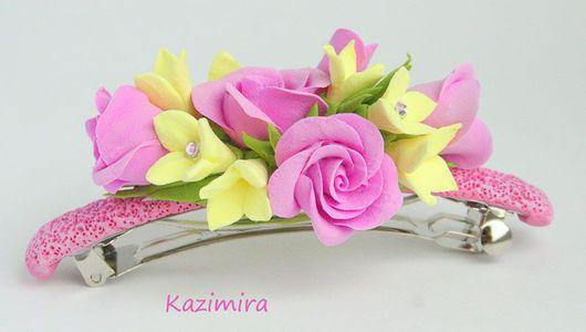 Заколки ручной работы. Ярмарка Мастеров - ручная работа. Купить Заколка с розовыми розами. Handmade. Заколка для волос, заколка с цветами
