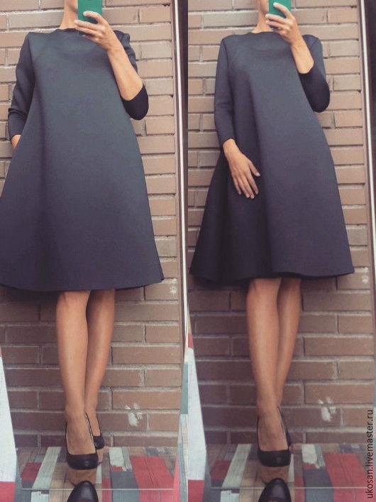 Платья ручной работы. Ярмарка Мастеров - ручная работа. Купить Платье трапеция. Handmade. Тёмно-синий, кежуал, тренд