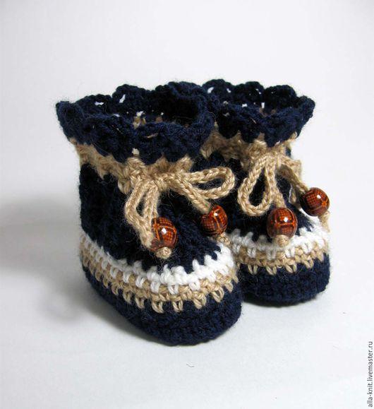 Для новорожденных, ручной работы. Ярмарка Мастеров - ручная работа. Купить пинетки вязаные, теплые пинетки, шерстяные пинетки. Handmade.