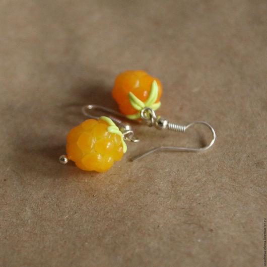 """Серьги ручной работы. Ярмарка Мастеров - ручная работа. Купить Серьги """"Морошка"""". Handmade. Оранжевый, еда, серьги ягоды"""