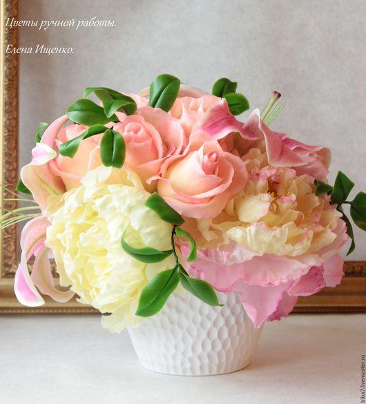 Интерьерные композиции ручной работы. Ярмарка Мастеров - ручная работа. Купить Букет цветов из полимерной глины.Sweet chic. Handmade.