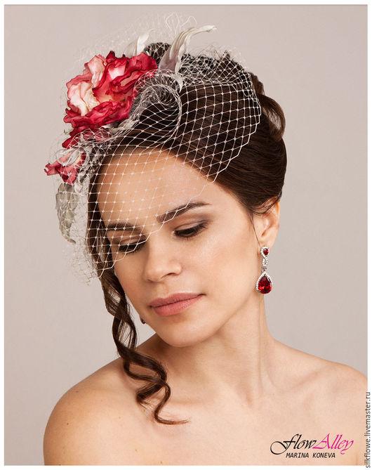 """Цветы ручной работы. Ярмарка Мастеров - ручная работа. Купить Вуалетка-шляпка-ободок-заколка. Роза  """"Nostalgie""""  Цветы из шелка. Handmade."""