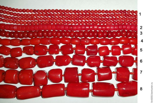 Для украшений ручной работы. Ярмарка Мастеров - ручная работа. Купить Коралл красный, 8 видов. Handmade. Бусина