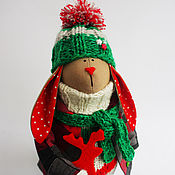 Куклы и игрушки ручной работы. Ярмарка Мастеров - ручная работа Новогодний заяц №4 (интерьерная игрушка). Handmade.