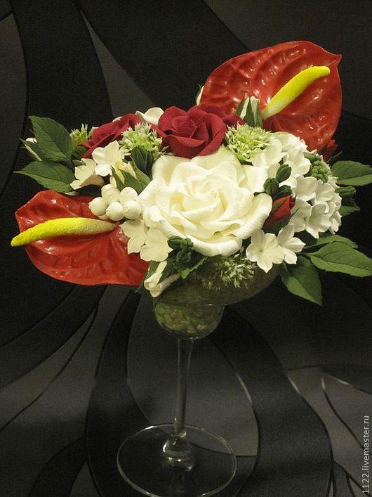 """Цветы ручной работы. Ярмарка Мастеров - ручная работа. Купить Композиция """"Антуриум"""". Handmade. Ярко-красный, композиция для интерьера, цветы"""