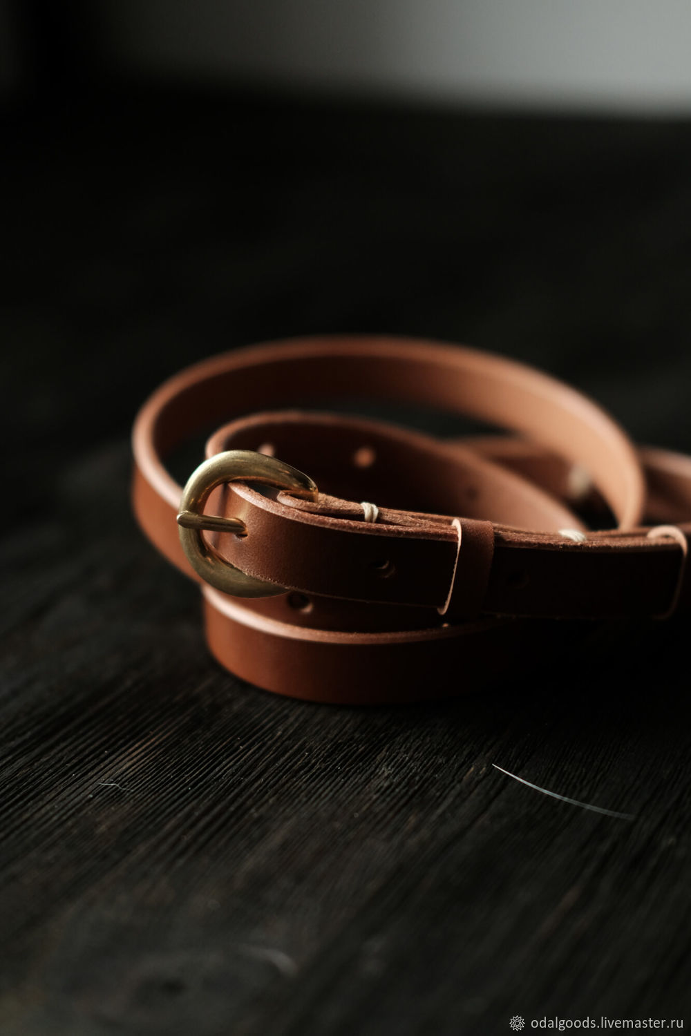 Belt classic handmade leather 15 mm-Red, Straps, St. Petersburg,  Фото №1