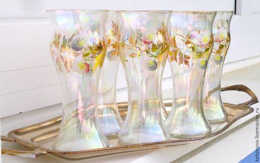 Винтажная посуда. Ярмарка Мастеров - ручная работа. Купить Старинные 6шт стаканы 300мл и посеребреный поднос. Handmade. Старинное стекло