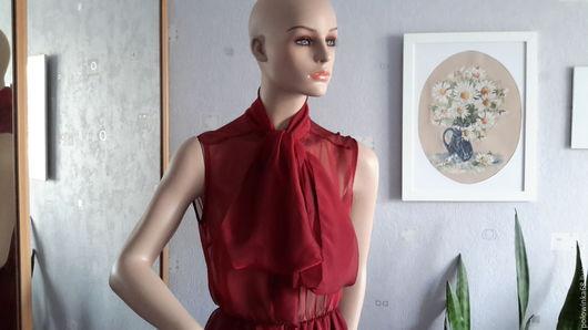Платья ручной работы. Ярмарка Мастеров - ручная работа. Купить Платье из шифона. Handmade. Бордовый, платье вечернее