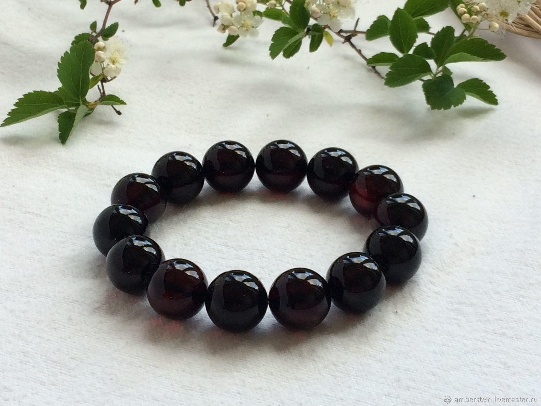 Bracelet from Baltic amber, color is cherry, 14.7mm, Bead bracelet, Kaliningrad,  Фото №1