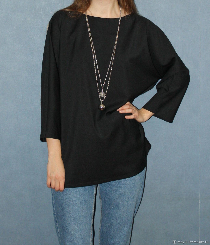 Блуза черного цвета из тонкой шерсти, Блузки, Москва,  Фото №1