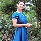 Платья ручной работы. Заказать Платье городское синее. СЛАВный стиль от Заряны. Ярмарка Мастеров. Одежда из льна, русский стиль