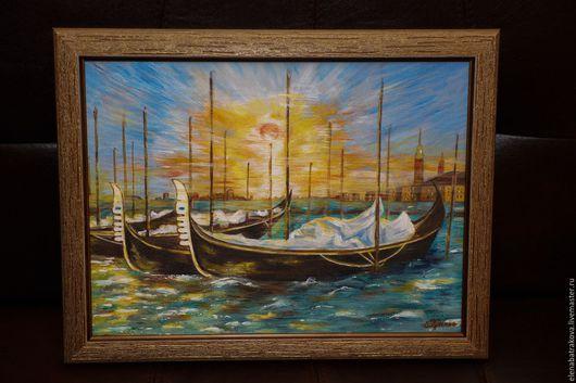 Пейзаж ручной работы. Ярмарка Мастеров - ручная работа. Купить Лодки у причала на рассвете. Handmade. Морская волна, гавань, рассвет