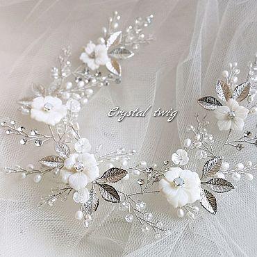 Свадебный салон ручной работы. Ярмарка Мастеров - ручная работа Веночек - веточка в прическу невесты. Handmade.