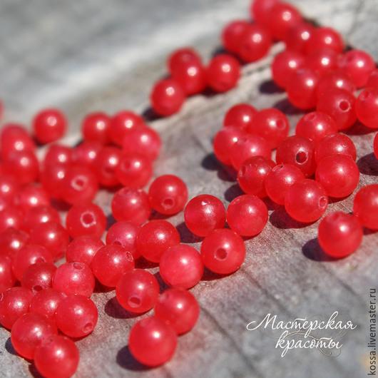 Для украшений ручной работы. Ярмарка Мастеров - ручная работа. Купить Бусины нефрита: белый, красный, оранжевый 4 мм. Handmade.