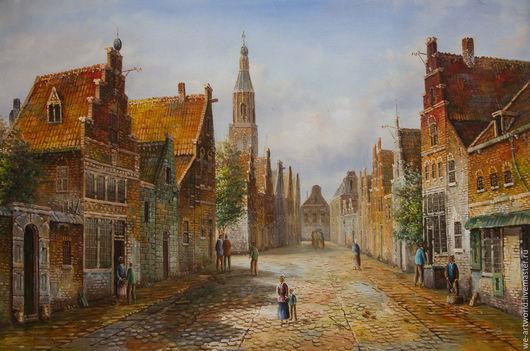 """Пейзаж ручной работы. Ярмарка Мастеров - ручная работа. Купить """"Старая голландская улица. Подражая Виллему Куккуку. N5"""". Handmade."""