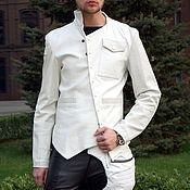 Мужская одежда handmade. Livemaster - original item White Leather Jacket. Handmade.