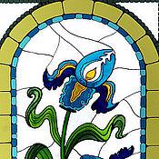 """Дизайн и реклама ручной работы. Ярмарка Мастеров - ручная работа Витраж """"Ирисы"""". Handmade."""